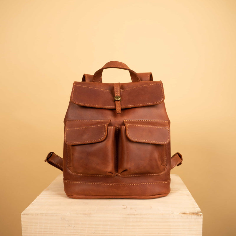 cognac brown premium Handcrafted leather mini Bag with two front pockets