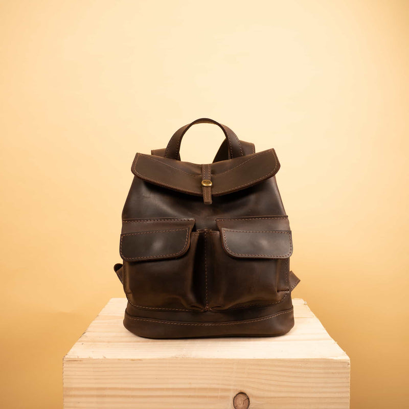 mini leather backpack Handcrafted leather mini Bag with two front pockets