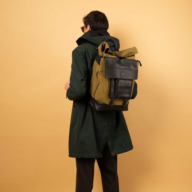 luxuty Leather canvas roll top Rucksack with separate laptop compartment and removable front zipper pocket for man