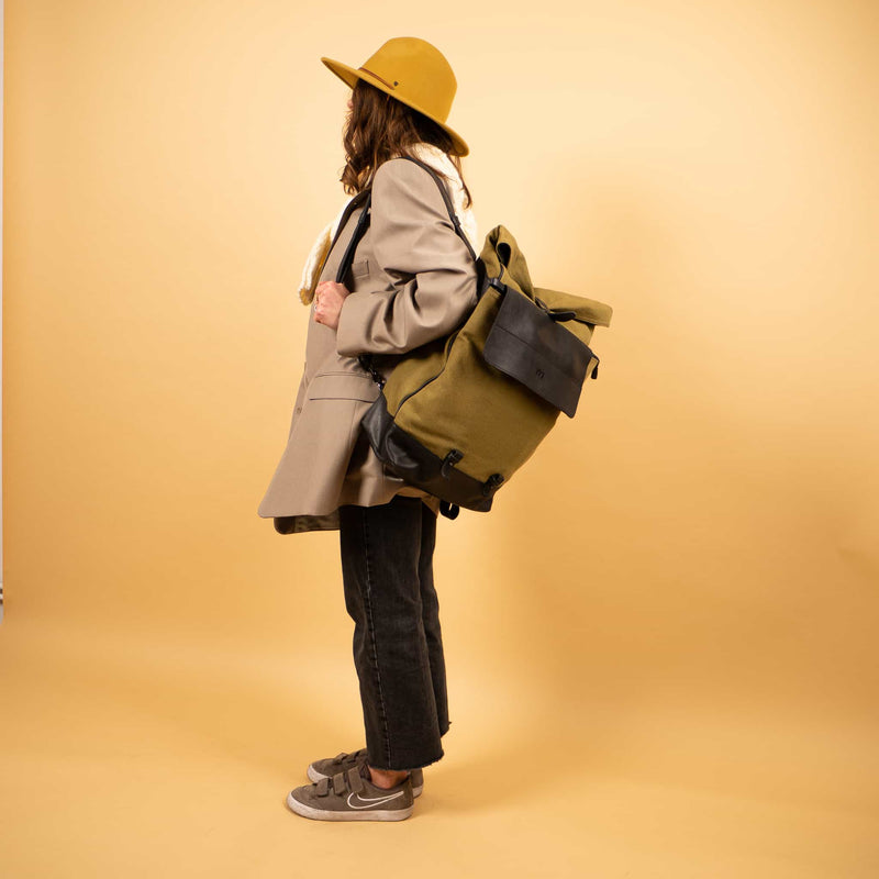 luxury Leather canvas roll top Rucksack with separate laptop compartment and removable front zipper pocket for woman