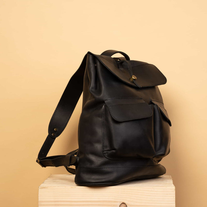 Classical black leather backpack