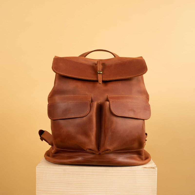 Classical cognac brown leather backpack