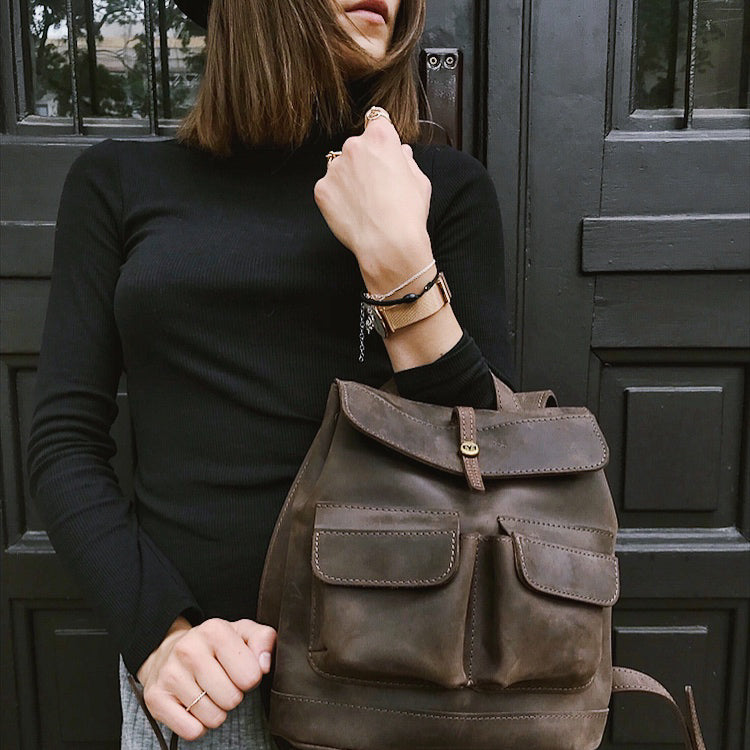 luxury woman Handcrafted leather mini Bag with two front pockets
