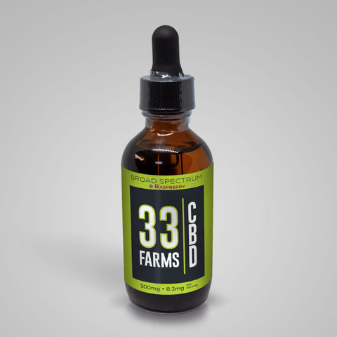 500mg Broad Spectrum CBD Oil Raspberry Flavor - 33 Supply, LLC