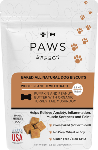 Paws Effect Small Dog Baked Pumpkin and Peanut Butter Biscuits with Whole Plant Hemp Extract, 2.5mg per Biscuit - 33 Supply, LLC