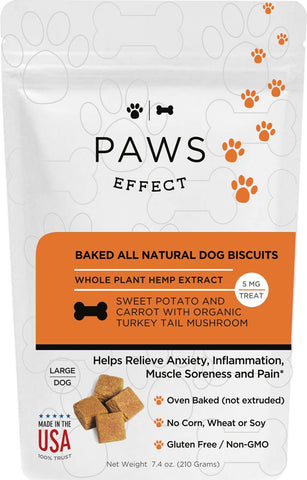 Paws Effect Large Dog Baked Sweet Potato and Carrot Biscuits with Whole Plant Hemp Extract, 5mg per Biscuit - 33 Supply, LLC