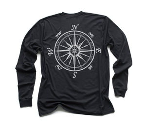 Nautical Compass Organic Long Sleeve - Black