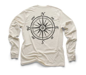 Nautical Compass Organic Long Sleeve - Natural