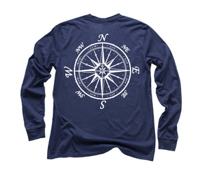 Nautical Compass Organic Long Sleeve - Navy