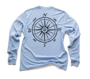 Nautical Compass Organic Long Sleeve - Sky Blue