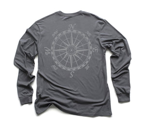 Mariner's Compass Organic Long Sleeve - Slate w/ Grey Design