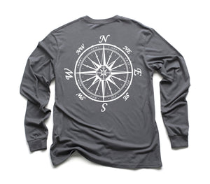 Nautical Compass Organic Long Sleeve - Slate