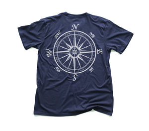 Nautical Compass Organic Short Sleeve - Navy