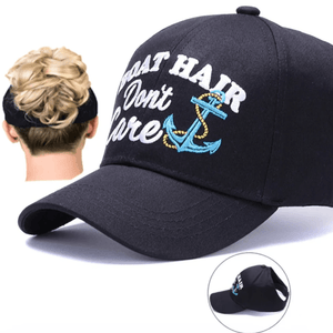 Ponytail Baseball Hat w/ Boat Anchor Design