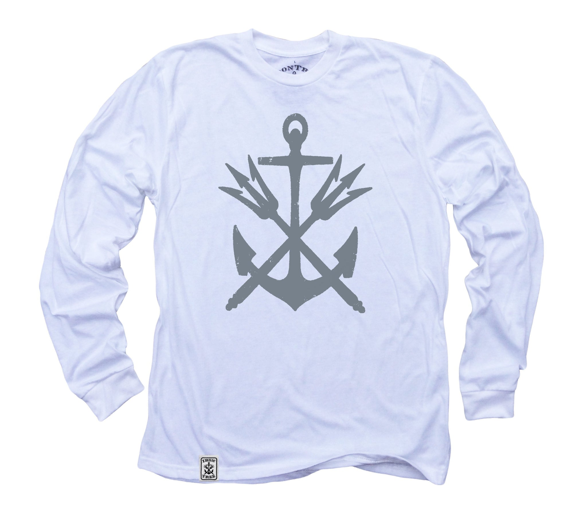 4937afd2f10b Anchor & Tridents: Organic Fine Jersey Long Sleeve T-Shirt in White