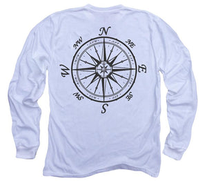 Nautical Compass Organic Long Sleeve - White