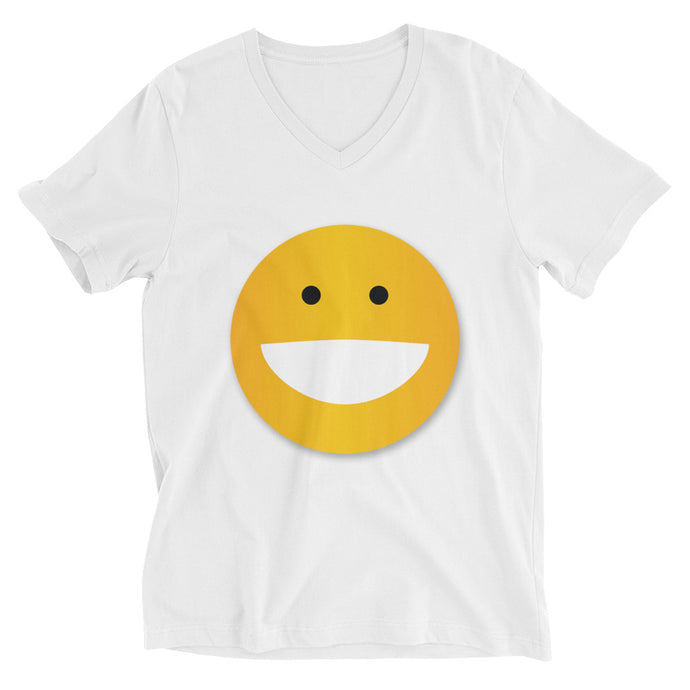 BIG Smiley Unisex Short Sleeve V-Neck T-Shirt