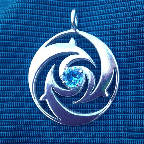 Dolphin Pendant in Sterling Silver with Topaz Gemstone
