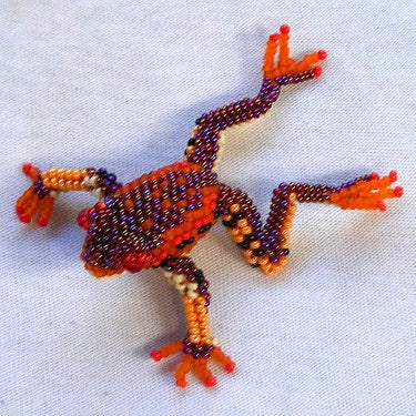 Frog Pin - Beaded Animal by Jose Reanda