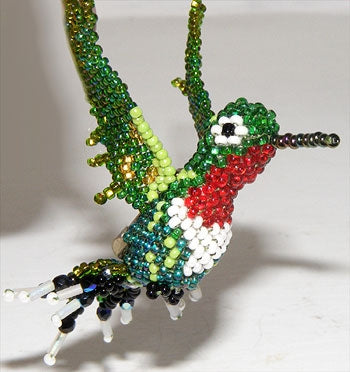 Humming Bird Pin - Beaded Animal by Jose Reanda