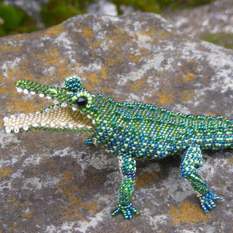 Alligator - Beaded Animal by Jose Reanda