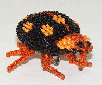 Beetle Pin - Beaded Animal by Jose Reanda