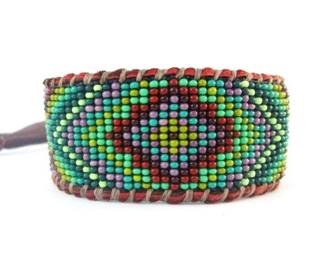 Boho Men's Beaded Geometric Cuff Bracelet On Chocolate Deer Hide Leather, Green And Purple