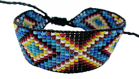 Huichol Native American Inspired Beaded Bracelet - Design 22