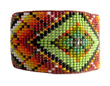 Huichol Inspired Contemporary Rainbow Mandala Beaded Bracelet 2