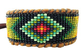 Huichol Style Inspired Diamond Eye Beaded Bracelet