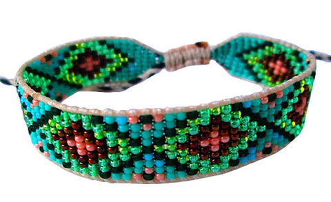 Huichol Native American Inspired Beaded Bracelet - Design G