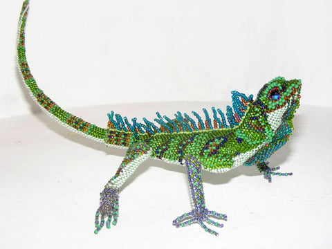 Iguana - Beaded Animal by Jose Reanda