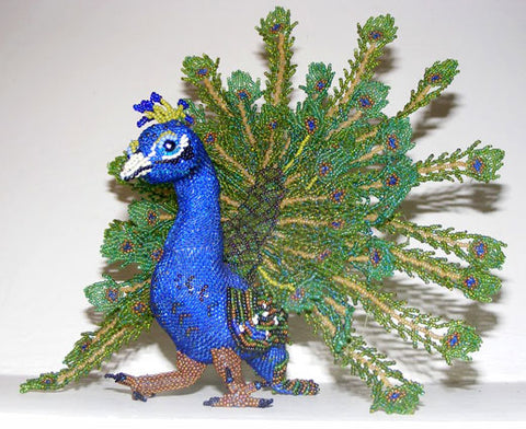 Peacock - Beaded Animal by Jose Reanda