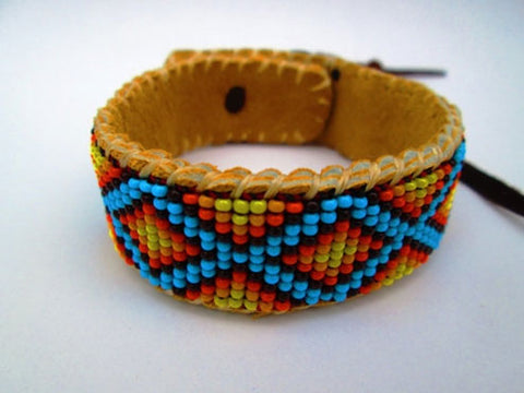 Roads Intertwined, Native American Inspired Beaded Bracelet On Deer Hide