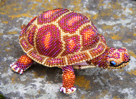Turtle - Beaded Animal by Jose Reanda