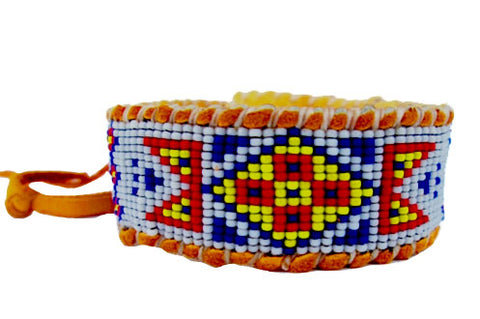 Wetlands Native American Inspired, White, Blue, Yellow, Red, Cuff Bracelet on Deer Hide