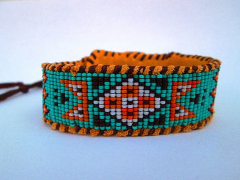 Wetlands Native American Inspired, Beaded Blue, Orange And Brown Cuff Bracelet