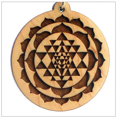 Sri Yantra Symbol Pendants in Wood
