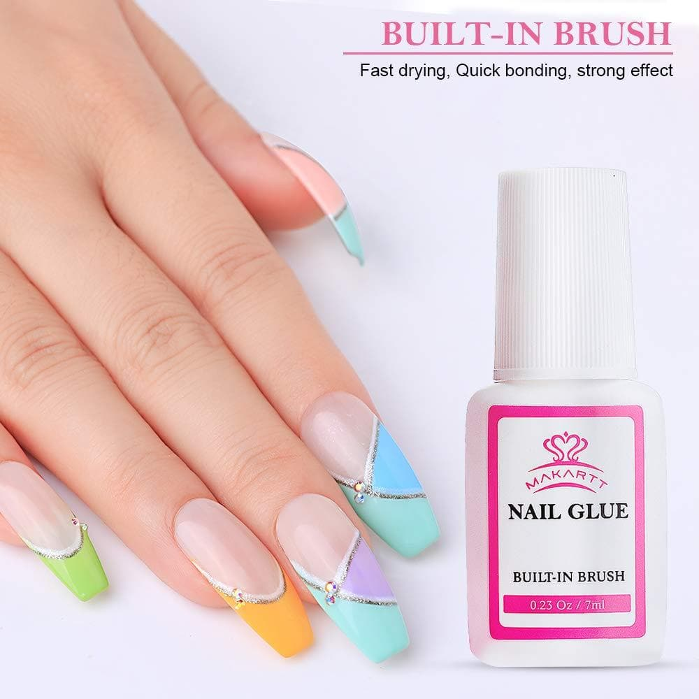 3 Pieces Nail Glue with Built-In Brush - Makartt