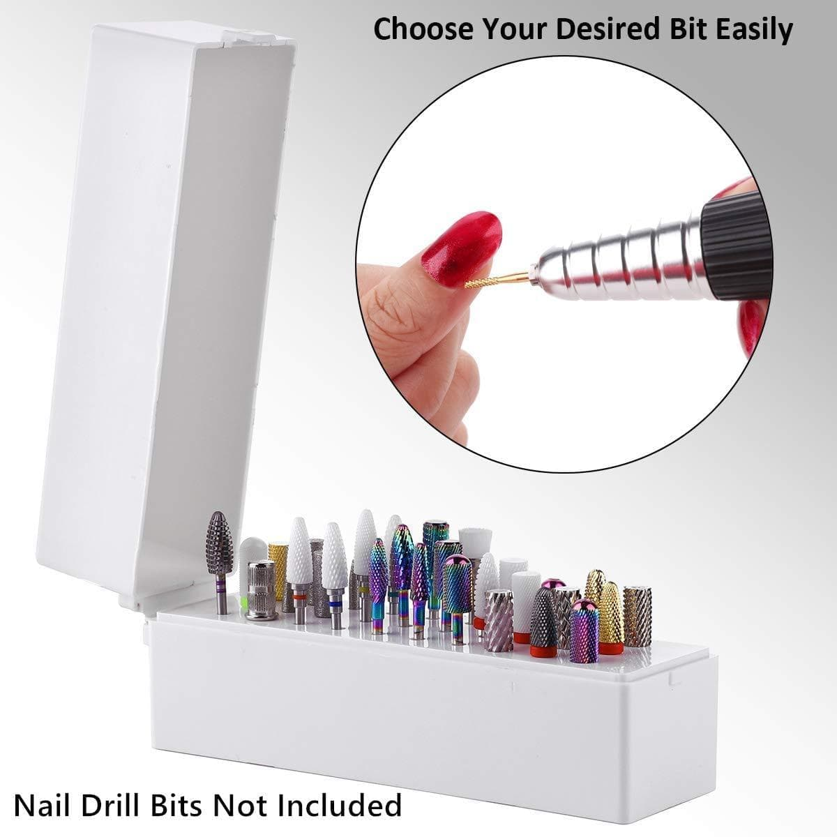 30 Hole Nail Drill Bits Organizer in White (Drill Bits Not Included) (B-22) - Makartt