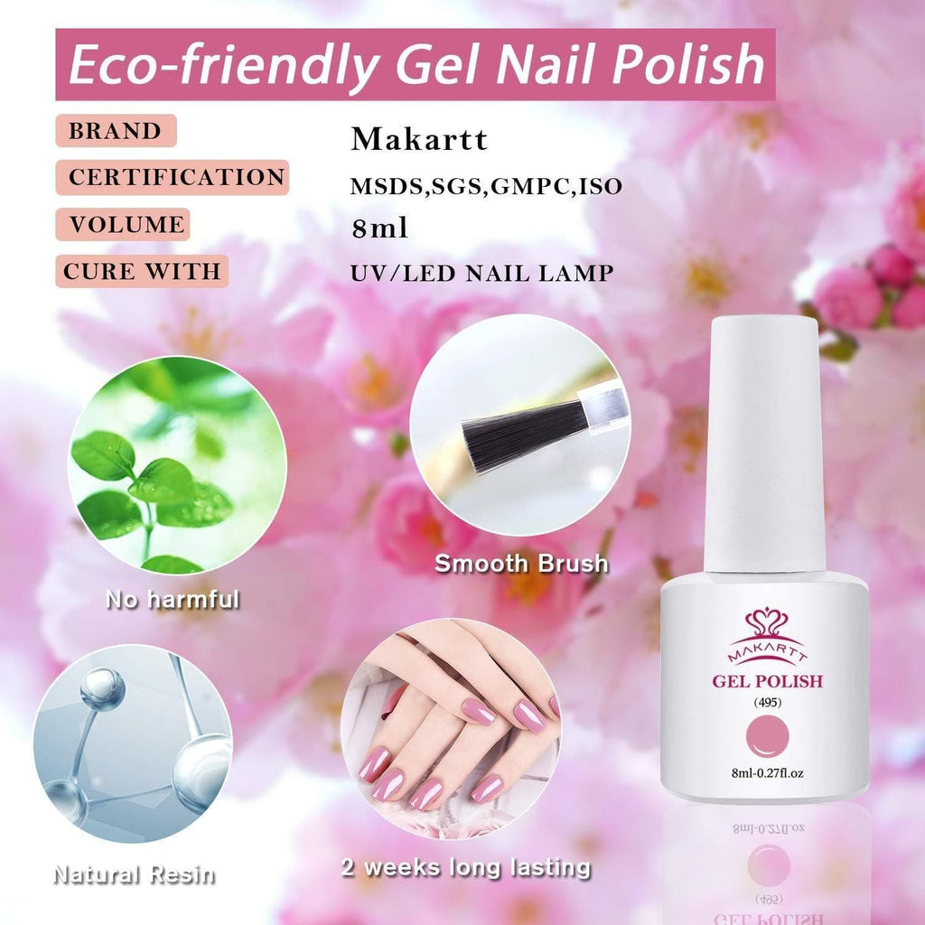 6 Color Elegant Cherry Blossom Gel Polish Set with Base and Top Coat