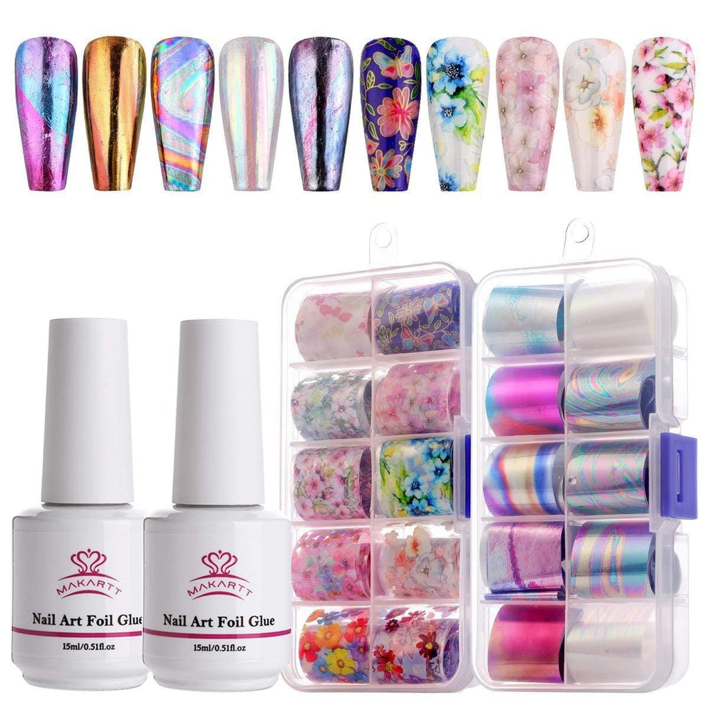 Nail Art Foil Decoration Set in Floral Sky Rose Flowers