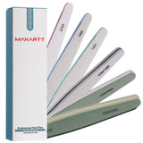 6 Pcs Nail File for Acrylic Gel Nails, Professional Nail File Buffer Polisher Kit - Makartt