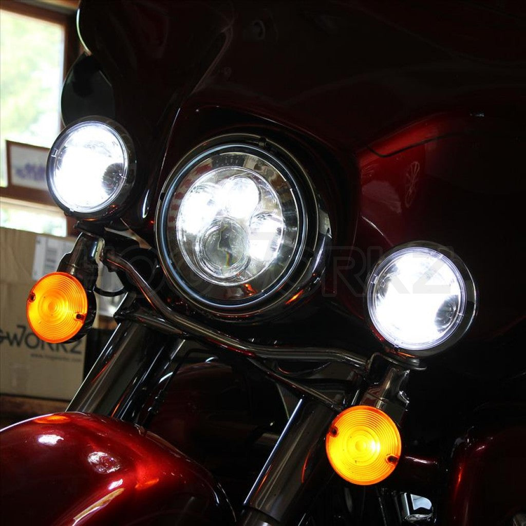 Auxiliary LED Passing Lamps HW195203 HogWorkz Chrome 4.5 in