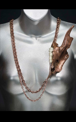 'Roadkill' - copper deer jaw neckpiece