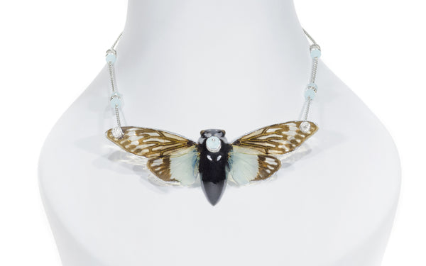 *GENUINE* Large Teal Cicada Necklace with 18K White Gold Filled Chain