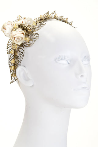 Rose and Leaf Headband (with GENUINE Rose blossoms)