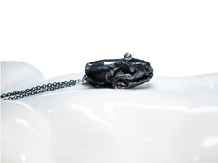 'Mindful' - black mink skull necklace