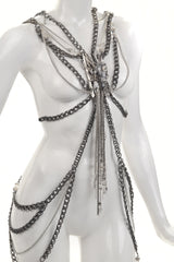 'Chained' - silver body chain with mink skull