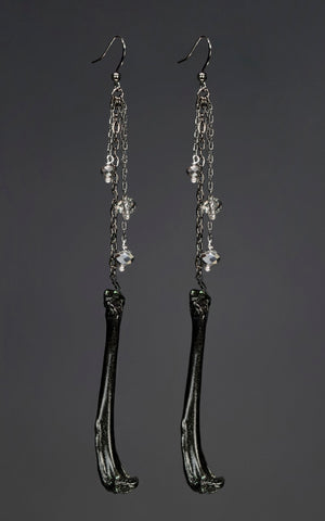 'The Real Legacy' - black mink femur bone earrings